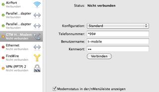 Netzwerkeinstllungen unter Mac 10.6 Wnw Stick