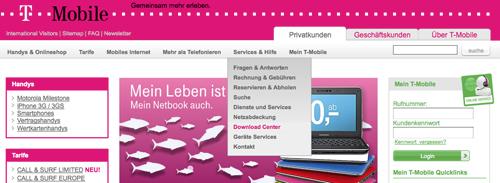 Screenshot Webseite T-Mobile Östereich