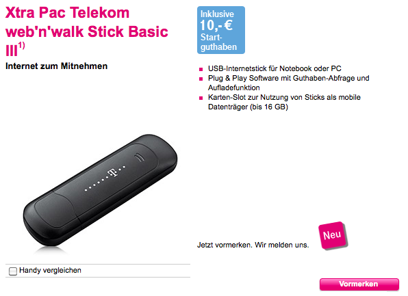 neuer telekom prepaid surfstick basic iii e1550 im amazon. Black Bedroom Furniture Sets. Home Design Ideas