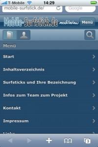 Hochformat iPhone Menü